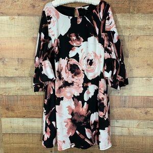 Cato Rose Print Black Bell Sleeve Dress. XL.  NWT